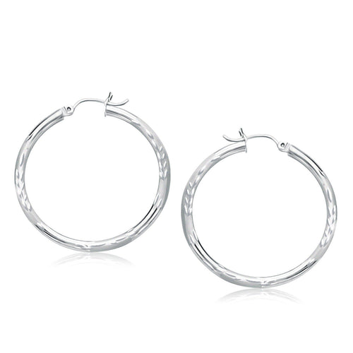 14k White Gold Fancy Diamond Cut Hoop Earrings (35mm Diameter)