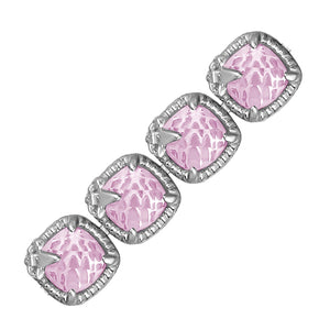 Sterling Silver Square Pink Amethyst and White Sapphire Edged Accented Bracelet, size 7.25''