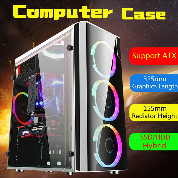 Leory Steel & Acrylic USB 3.0 Gaming Computer Case Cover Side Translucent 5 Fans Chassis for ATX for M-ATX for Mini-ITX - Eclipse High Tech