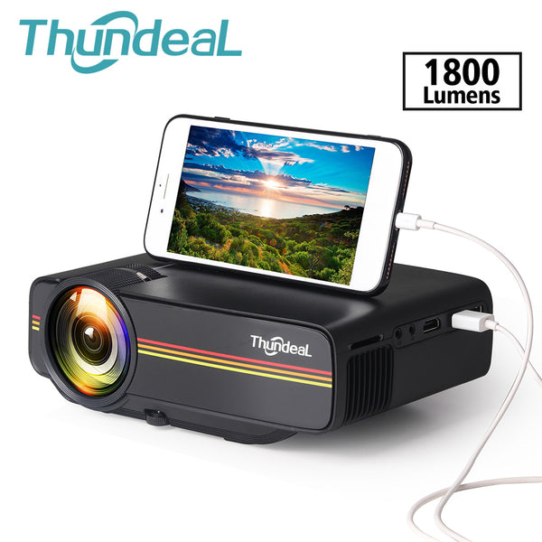 ThundeaL YG400A Mini Projector 1800 Lumen Wired Sync Display AC3 HDMI VGA Projector-Home Projectors-Eclipse High Tech