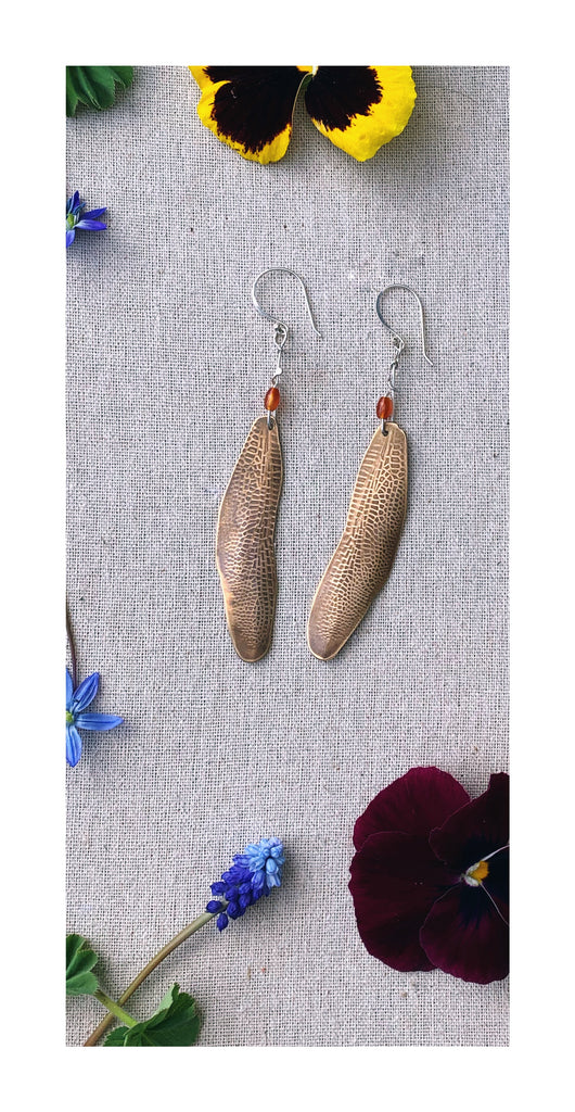 Dragonfly Wing Earring - bronze