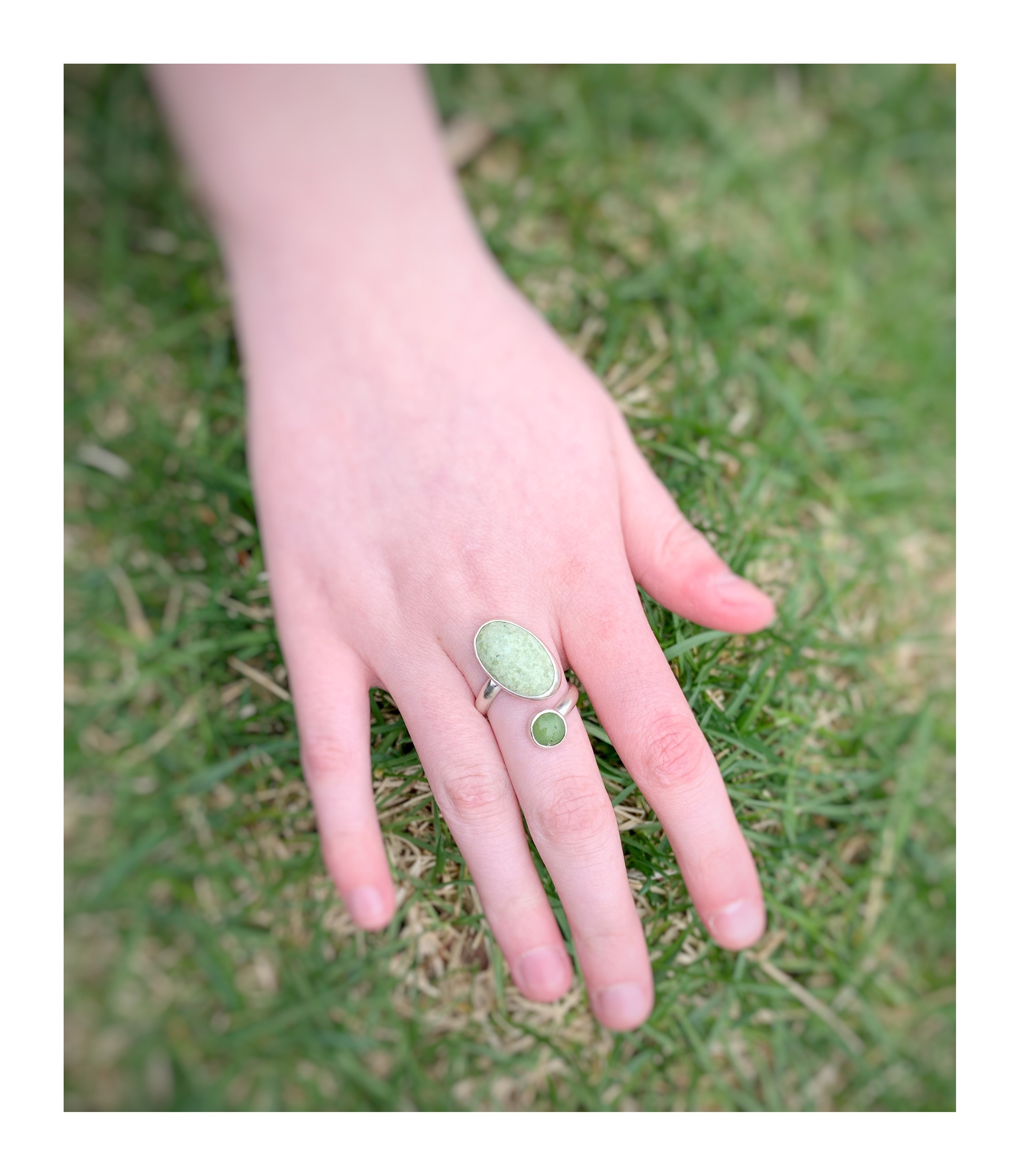 Jade and Variscite Ring
