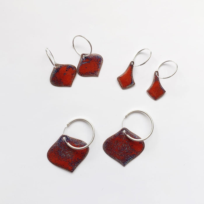 Red Hot Enamel Earrings