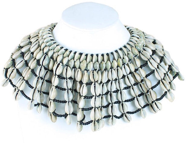 Kenyan Cowrie Shell Collar Necklace