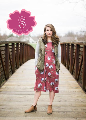 Raglan Sleeved Floral Midi Dress