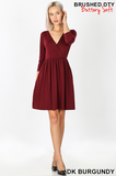 3/4 Sleeve Faux Wrap Dress (S&M, LAST 2)