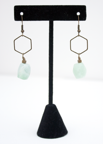 Mint Stone Drop Earrings (ONLY 2)