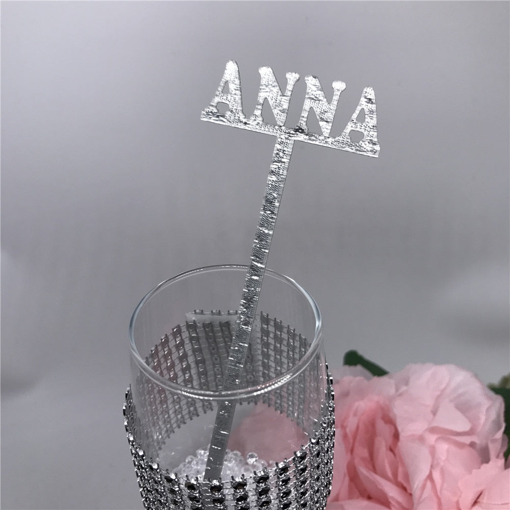 Place Cards Acrylic Drink Stirrers Personalized