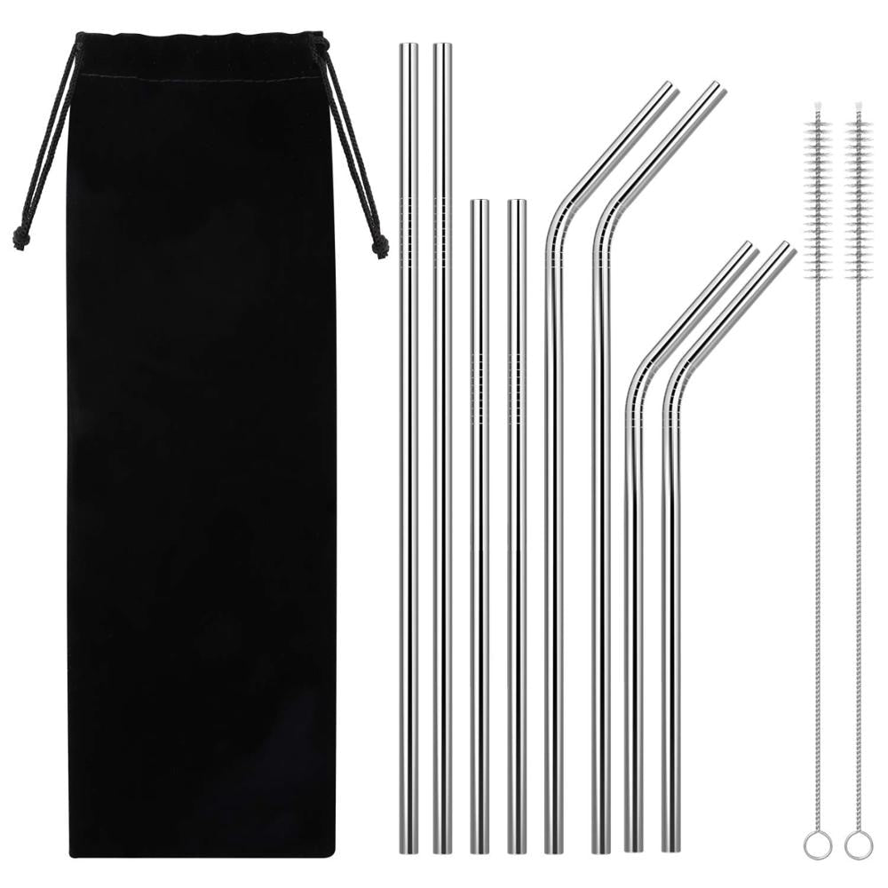 Drinking Straw 8 Pack Reusable Metal