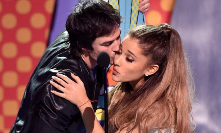 Ariana Grande and Ian Somerhalder having awkward moment at the 2014 Teen Choice Awards