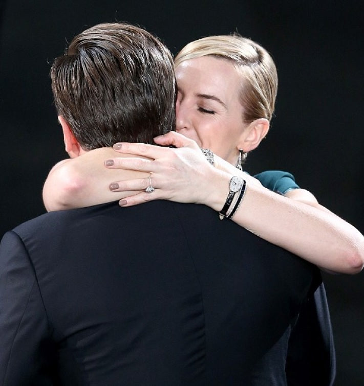 Leonardo DiCaprio & Kate Winslet both actors hugging after winning a SAG Award award