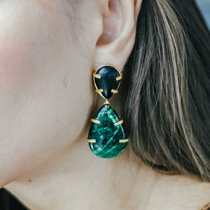 Silver earrings with green agate | Jomaro Jewelry
