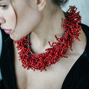 Red statement necklace | Order online | UAE | Jomaro Jewelry