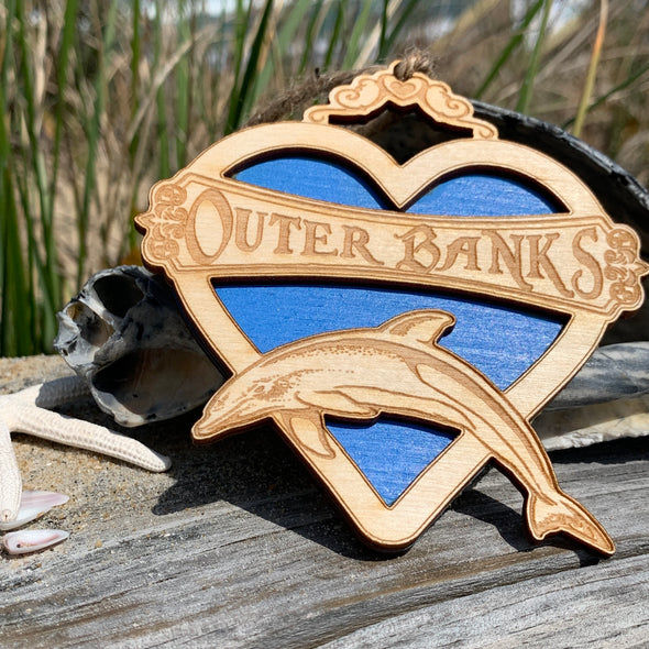 OUTER BANKS DOLPHIN WOODEN ORNAMENT