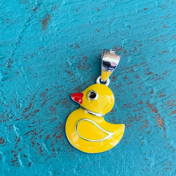 RUBBER DUCKY STERLING AND ENAMEL PENDANT