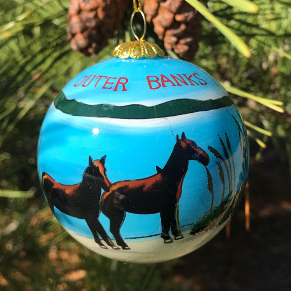 OUTER BANKS WILD HORSES PAINTED GLASS ORNAMENT