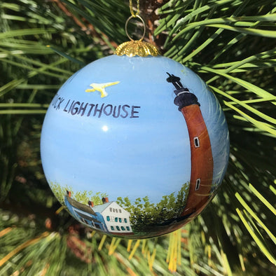 CURRITUCK LIGHTHOUSE PAINTED GLASS ORNAMENT