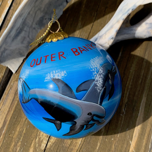 OUTER BANKS DOLPHIN PAINTED GLASS ORNAMENT