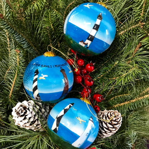 OUTER BANKS LIGHTHOUSES PAINTED GLASS ORNAMENT