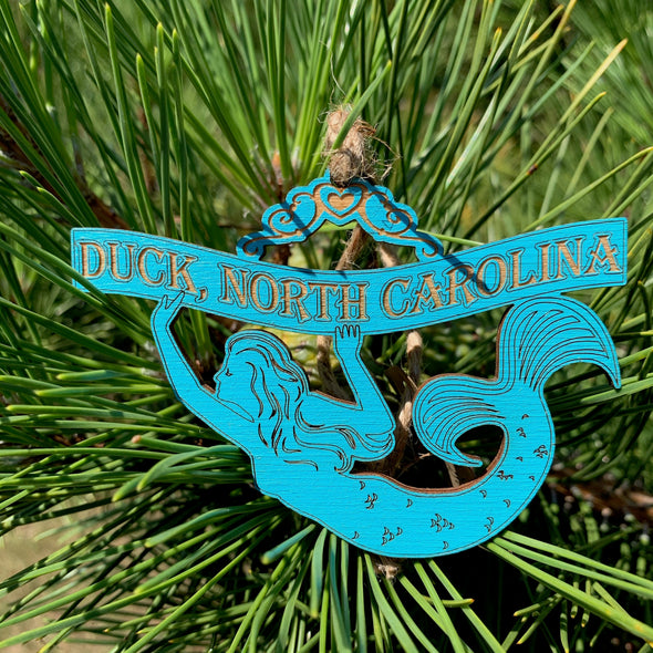 DUCK NC MERMAID WOODEN CHRISTMAS ORNAMENT