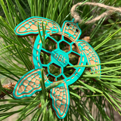 SEA TURTLE WOOD CHRISTMAS ORNAMENTS