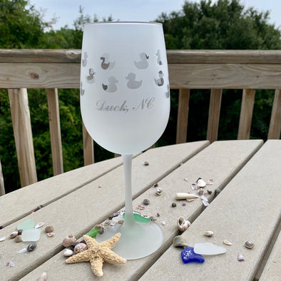 DUCK NC FROSTED BARWARE | Wine Glass Duck NC