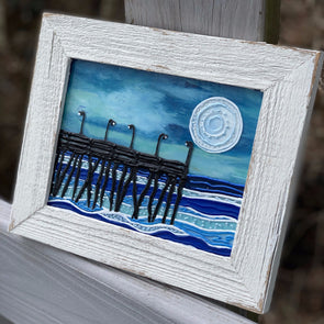 Nighttime Pier, a Painted Window by Rebeccah Rogers | Outer Banks Artisans