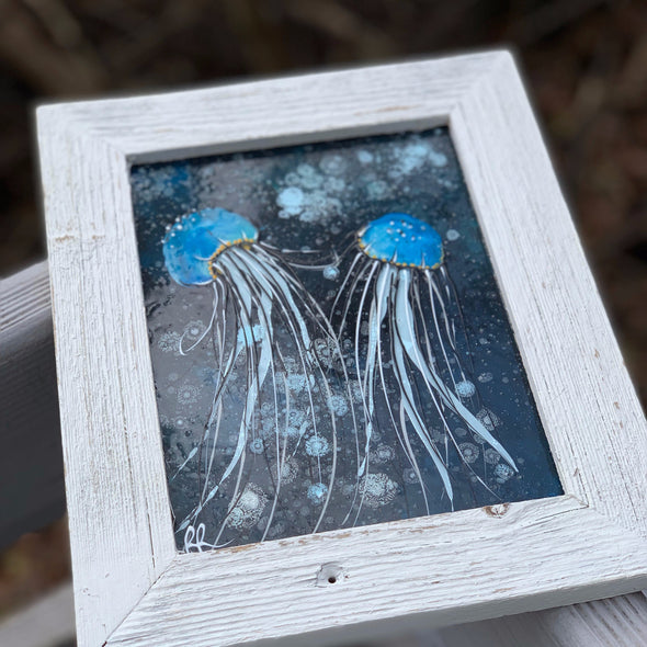 Jelly Fish, a Painted Window by Rebeccah Rogers | Outer Banks Artisans