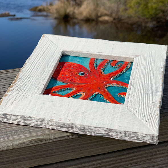 Octopus, a Painted Window by Rebeccah Rogers | Outer Banks Artisans