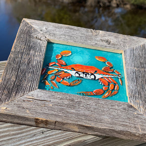 Crab, a Painted Window by Rebeccah Rogers | Outer Banks Artisans