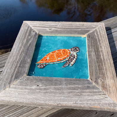 Sea Turtle, a Painted Window by Rebeccah Rogers | Outer Banks Artisans