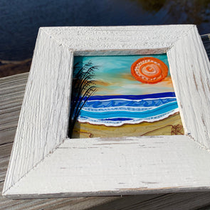 Sea Oats, a Painted Window by Rebeccah Rogers | Outer Banks Artisans