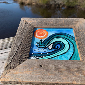 Wave, a Painted Window by Rebeccah Rogers | Outer Banks Artisans