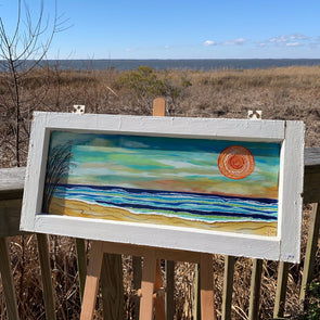 Sea Oats on the Beach, a Painted Window by Rebeccah Rogers | Outer Banks Artisans