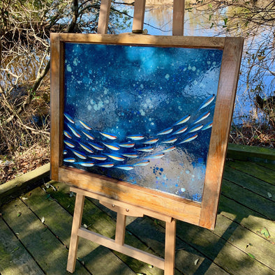 School of Fish, a Painted Window by Rebeccah Rogers | Outer Banks Artisans