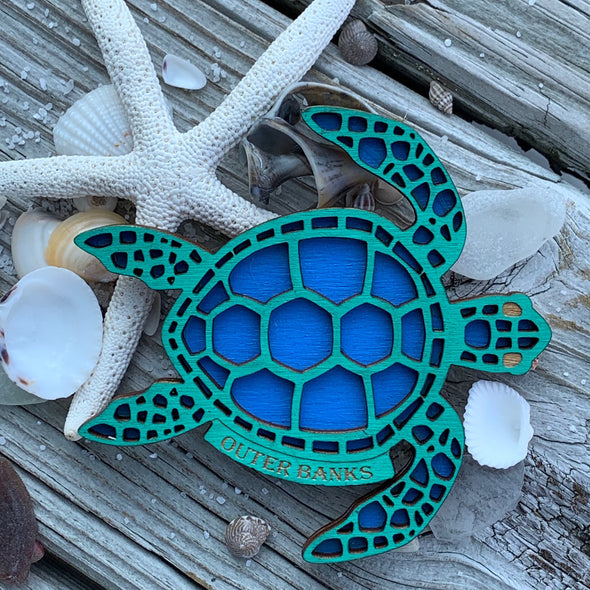 OBX SEA TURTLE WOODEN MAGNET