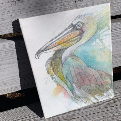 Pelican, a Mixed Medium Watercolor by Diane Luke | Outer Banks Artisans