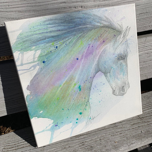 Purple Horse, a Mixed Medium Watercolor by Diane Luke | Outer Banks Artisans