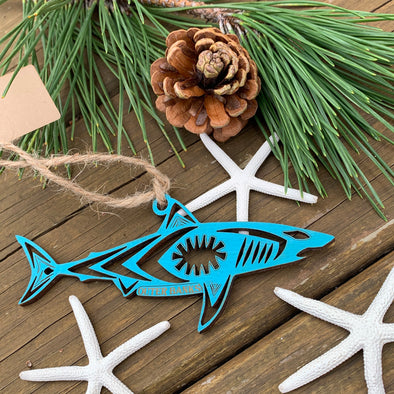 SHARK WOODEN CHRISTMAS ORNAMENT