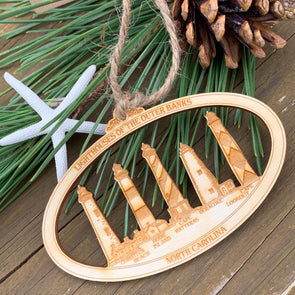 OBX LIGHTHOUSES WOODEN ORNAMENT