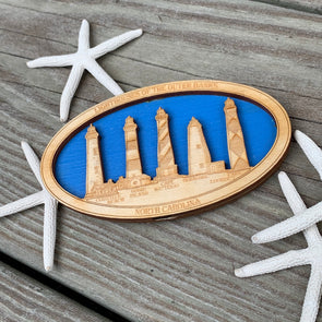 LIGHTHOUSES OF THE OUTER BANKS WOODEN MAGNET