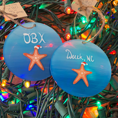 HAND PAINTED GLASS ORNAMENTS | SANTA STARFISH