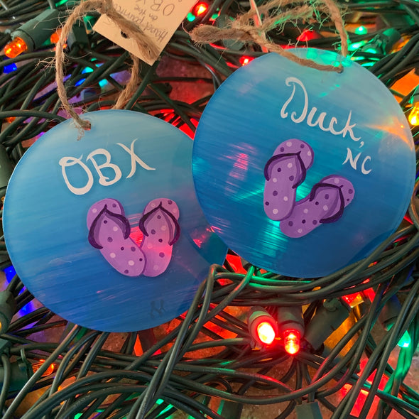 HAND PAINTED GLASS ORNAMENTS | FLIP FLOPS