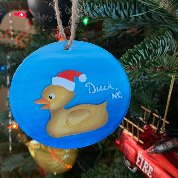 HAND PAINTED GLASS ORNAMENTS | SANTA DUCK NC