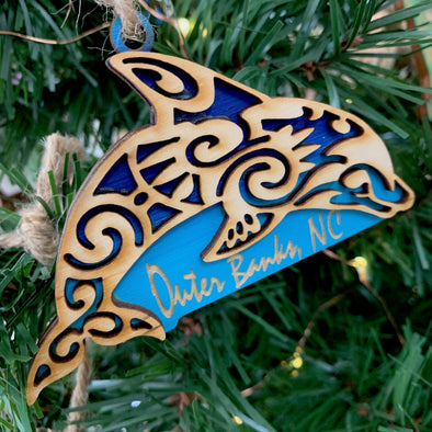 DOLPHIN WOODEN CHRISTMAS ORNAMENTS