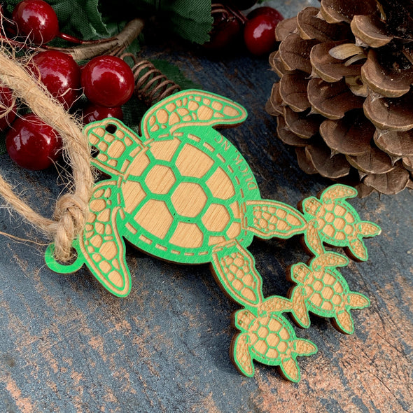 SEA TURTLE MAMA WOODEN ORNAMENT