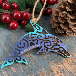 DOLPHIN WOODEN CHRISTMAS ORNAMENT