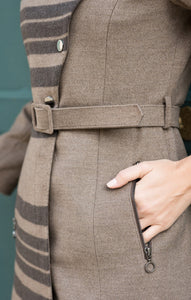 Long asymmetrical winter coat