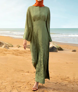 Khaki - Crew neck - Unlined - Viscose - Dress spring