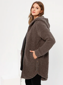 Teddy coat - Smoke - Unlined - Plus Size Coat